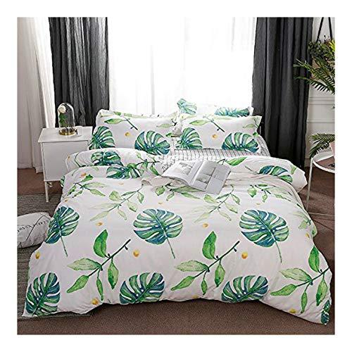 "KFZ Bed Set (Twin Full Queen King Size) [Duvet Cover, Flat Sheet, Pillow Cases] No Comforter FD Flower Leaves Green Plants Design for Kids Adults Teens Sheet Sets (Grass Leaves, Green, Queen 78""x91"")"