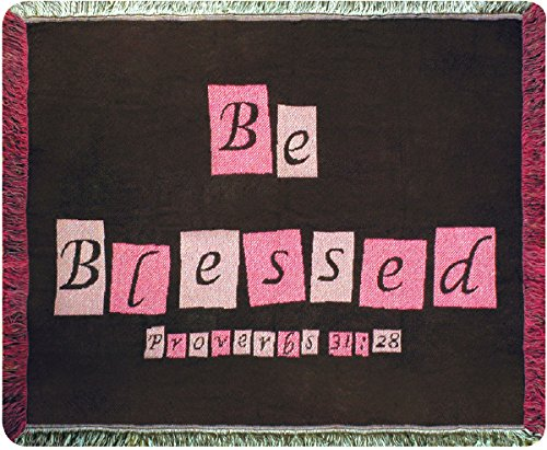 (Manual Be Blessed Prov. 31:28 Inspirational Tapestry Mini Throw Lap Blanket ABEBL 46x37 Brown Pink )