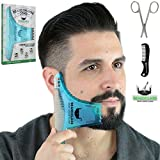 BEARDCLASS Beard Shaping Tool - 8 in 1 Comb Multi-liner Beard Shaper Template Comb Kit Transparent - Works with any Beard Razor Electric Trimmers or Clippers (Clear Blue)