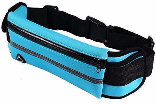 Waterproof Pouch Bag, Elastic Waist Bag, Blue Mens Running Belt Key Holder, Gear Outdoor Pack for Workout Excercise,Running,Jogging,Fitness,Gym, Waist Pouch Sports Pouch for Apple, Samsung, LG, Card For Sale