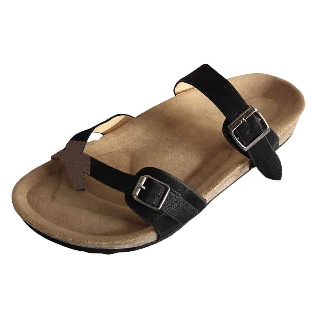Lloopyting Women's Casual Retro Buckle Belt Flat Striped Slippers Summer Non-Slip Flip Flops Beach Slippers Black