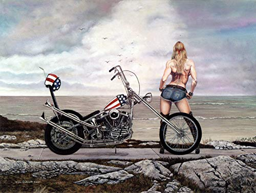 (Motorcycle Art Print, Lady Biker with Easy Rider Harley Davidson Chopper, 18x24, Seascape, Hand Signed by Artist - Original Painting by John Guillemette)