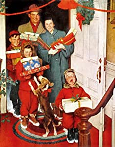 Norman Rockwell Merry Christmas 1950 Art Print - 8 in x 10 in - Unmatted, Unframed