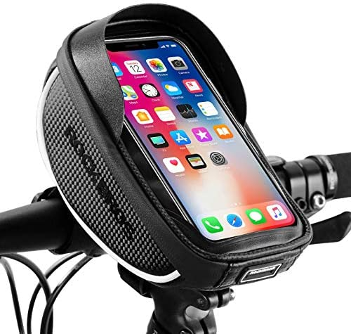 ROCKBROS Bike Phone Mount Bag Bike Front Frame Handlebar Bag Waterproof Bike Phone Holder Case Bicycle Accessories Pouch Sensitive Touch Screen Compatible with iPhone 11 XS Max XR 8 Plus Below 6.5″