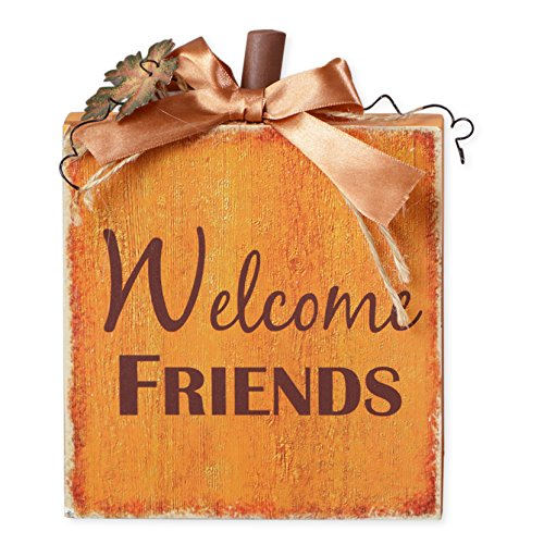 Welcome Friends Thanksgiving Pumpkin 5 x 8 Inch Wood Tabletop Block Sign ()