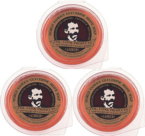 Fragrance Shave Soap (Col. Conk World's Famous Shaving Soap, 3-pack Amber Fragrance Super Size Bars *net Weight 3.75 Oz)