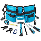 "Hi-Spec 12 Piece Young Builder's Tool Set & Tool Belt with REAL Hand Tools, Accessories, Eye Protection & Tool Pouch (Waists 27""+) for Home DIY, Carpentry and Woodworking Projects (Blue) - Great DIY Gift"