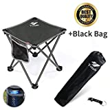 Folding Camping Stool, Portable Chair for Camping Fishing Hiking Gardening and Beach, Green Yellow Seat with Black Bag (Gray)