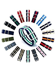 CIVO Watch Bands NATO Premium Ballistic Nylon Watch Strap Stainless Steel Buckle 18mm 20mm 22mm with Top Spring Bar Tool and 4 Spring Bars Bonus (Navy/Shamrock/Ivory, 20mm)