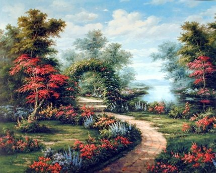 Landscape Wall Decor Garden Path Under Flower Arch Scenic Bedroom‎ Art Print Poster (16x20) from Impact Posters Gallery