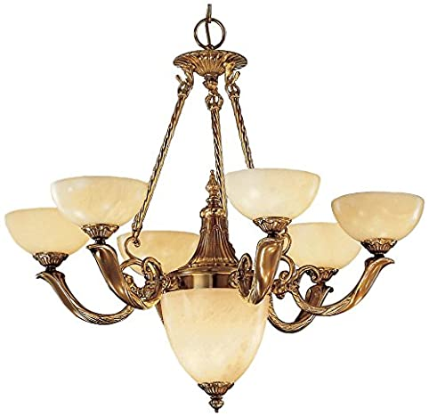 Classic Lighting 5667 ABZ Valencia, Alabaster, Chandelier, Antique Bronze - Classic Lighting 5667 ABZ Valencia, Alabaster, Chandelier, Antique