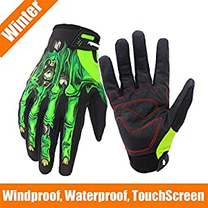 RIGWARL Winter Gloves Skeleton Zombie Bones Design Windproof Waterproof For Riding Biking Climbing Motorcycling Cycling Working Gardening (Green-for winter, XL)
