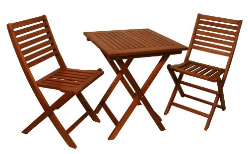 Phat Tommy Outdoor Patio & Garden Bistro Hardwood Table Set with 2 Folding Chairs – Lawn/Backyard Furniture