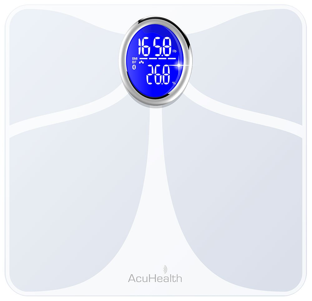 AcuHealth Body Fat Scale and Fitness Analyzer - Your Personal Health Monitor with Bluetooth Connectivity with iOS & Android Smartphone and Tablet Devices Analyzes 10 Heath Parameters ( White )