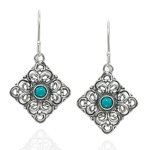 925 Sterling Silver and Turquoise Filigree Diamond Shaped Dangle Earrings Unique Women's Jewelry