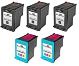 5PK HP 92 and HP 93 Remanufactured Combo Set – 3 Black HP 92 (C9362WN) and 2 Tri-Color HP 93 (C9361WN), Office Central