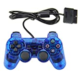 Wired Game Controller Double Shock Gamepad for Sony PS2 Playstation 2 (Blue)