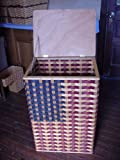 Basket - Trash Can or Hamper - Americana. American Flag Design Trash Can Basket. Approximately Measures 21 1/2 '' Wide X 16'' Deep X 32'' High. What a Way to Complete a Patriotic Room. This Can Also Be Used As a Hamper. This Is a Great Unique Gift Idea for A