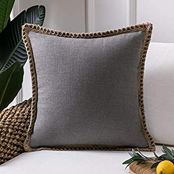 Amazon.com: Fundas de cojín con bordes de lino a medida de ...