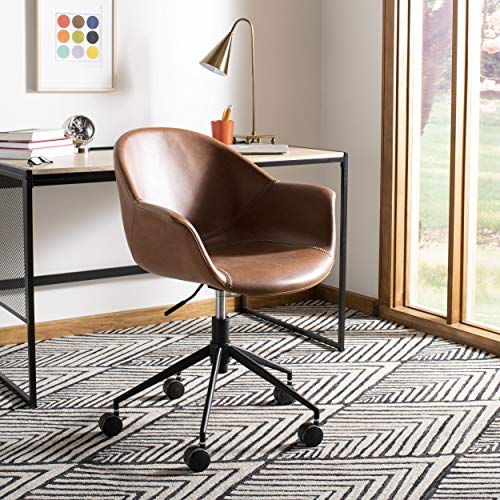 Safavieh OCH7002B Home Collection Ember Light Brown and BlackOffice Desk Chair, Black (Upholsted)