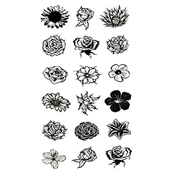 Amazoncom Oottati Small Cute Temporary Tattoo Black Flower 2