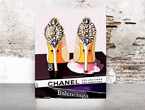 Wall Art Poster Print on Fine Art Paper- Shoes, Book, Handbag Vogue - Famous Fashion - Black WaterColor- 675