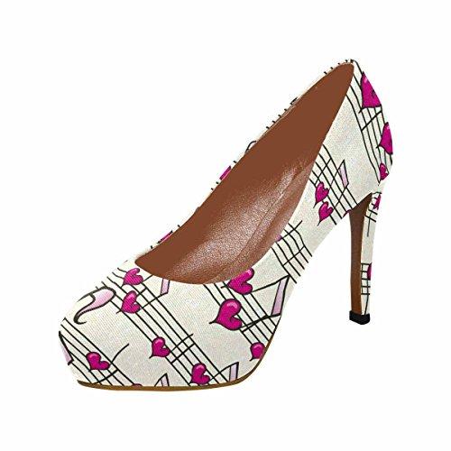 Pumps Classic InterestPrint Heart Music High Fashion Heel Womens Platform gwq1p