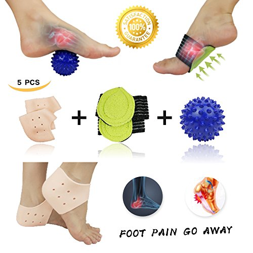Pnrskter Plantar Fasciitis Inserts, Arch Support, Massage Ball, Best for Heel Pain Treatment, Cracked Heel Protectors, Foot Massager, Flat Feet, Relieve The Swelling and Tingling.(5 PCS) price tips cheap