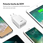 RAVPOWER-Caricatore-USB-da-Muro-a-3-Porte-30W-5V6A-con-Output-Massima-Fino-a-24A-Compatto-per-iPhone-iPad-Huawei-Samsung-Galaxy-Tablet-e-Altri-Dispositivi-USB-Bianco
