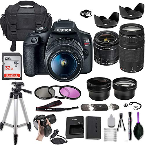 Canon EOS Rebel T7 DSLR Camera w/EF-S 18-55mm f/3.5-5.6 is II & EF 75-300mm f/4-5.6 III Lens + Wide-Angle and Telephoto Lenses + Portable Tripod + Memory Card + Deluxe Accessory Bundle