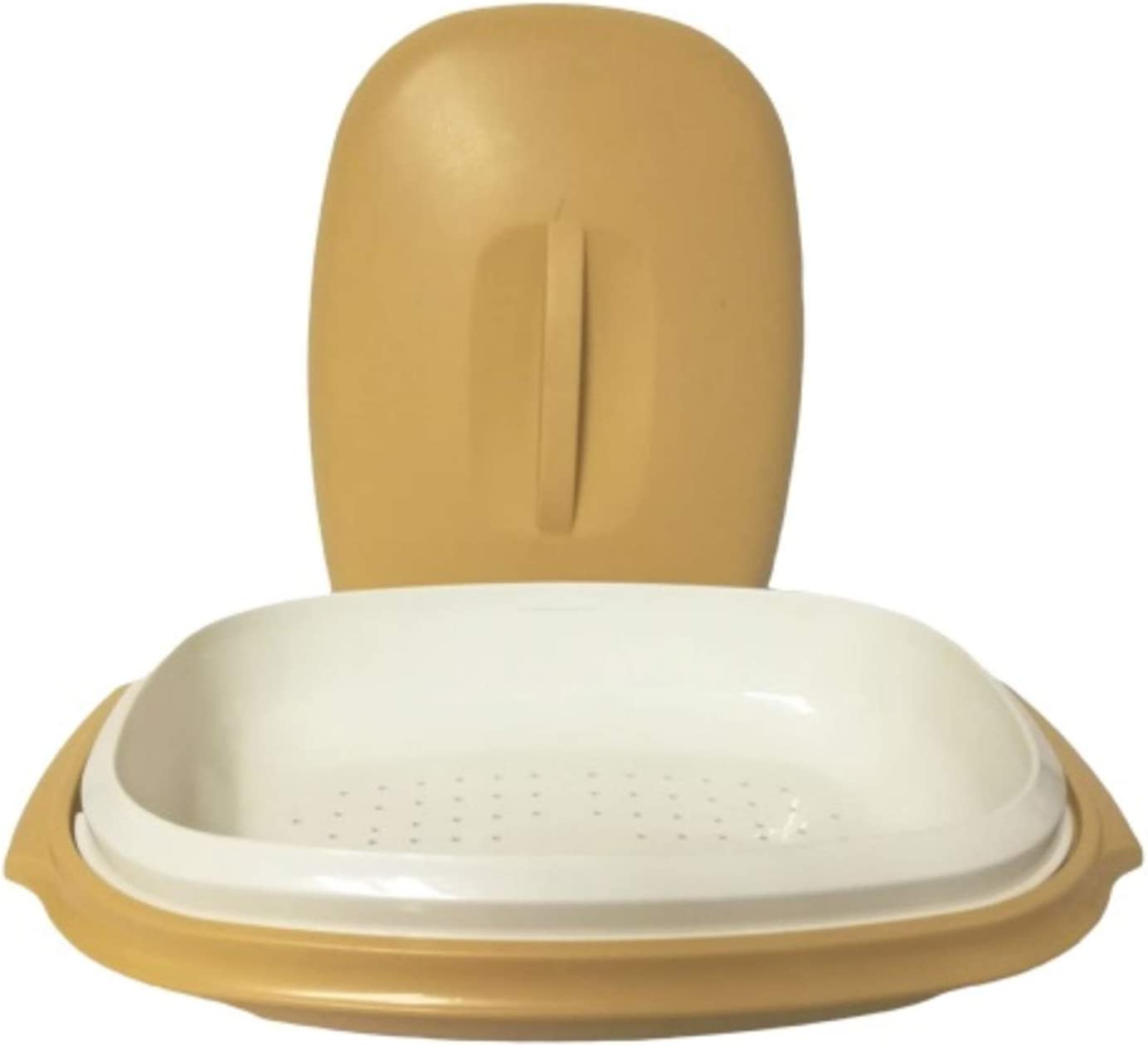 Pink or Harvest Gold 3 Piece Serving Dish Square Vintage Tupperware Steamer {Plastic Microwave Tupper Ware Steamer for Veggies} Pick one