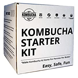 Get Kombucha Organic Kombucha Starter Kit With Homemade Brewing Probiotics 63 BUYING THESE SEPARATE WILL COST YOU MORE - DO NOT RISK wasting your valuable time or cash trying to buy kombucha ingredients individually at the store. This all-inclusive bundle produces 40 Bottles of Kombucha Tea, equaling just PENNIES PER BOTTLE. Also, these ingredients were purposefully put together because they seamlessly synergize to make every batch brew to perfection. HAVE QUESTIONS? GET EXPERIENCED ANSWERS INSTANTLY: GETKOMBUCHA HAS ONE OF THE LARGEST, most engaged communities of kombucha fanatics in the world! Since 2006, we've built a kombucha starter community of over 400,000 first time brewers, who have all elevated to become veterans! DISCOVER new recipes, cutting edge HEALTH HACKS, and eliminate headaches and hassles. TANK TOUGH & INDUSTRY LEADING SCOBY when it comes to size and durability. Don't worry about us shipping our scobies in COLD OR HOT WEATHER. We thought ahead and engineered our 6.5 inch in diameter scobies to withstand the shipping process in more extreme temperatures. Assuring our Kombucha kit starter arrives unharmed to your door or your money back.