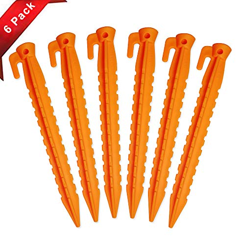 Nice2you Stakes with an Anchor - Apply to Outdoor Bounce House & Tents / Durable Plastic Pegs, Safety Orange (8.8 inch Pack of 6) - Compatible to Sand Beach Lawn Camping by Nice2you