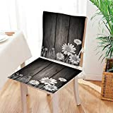 Antique Wooden Fold Up Chairs Mikihome Premium Chair Cushion Antique Old Planks American Style Western Rustic Wooden and White Daisies, Grass 2 Piece Set Comfort Memory cushionsd Mat:W17 x H17/Backrest:W17 x H36