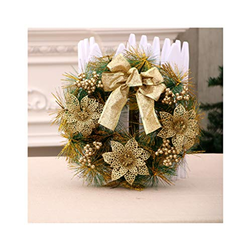 - Anenk 2018 New Version Extra Large Christmas Wreath for Front Door Wall Windows Artificial Poinsettia Xmas Decoration-12 Inch(30cm)-Golden