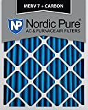 Nordic Pure 16x20x2 MERV 7 Plus Carbon AC Furnace Air Filters, Qty 3