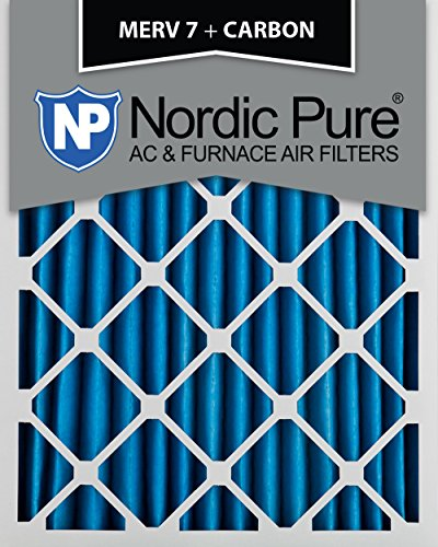 Nordic Pure 12x20x2 MERV 7 Plus Carbon AC Furnace Air Filters, Qty 3