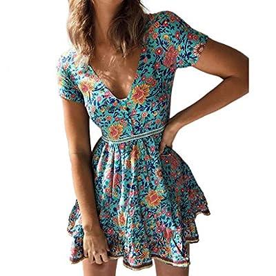 ANJUNIE Women Floral Prints Button Boho Mini Dress Short Sleeve V Neck Dress Blue