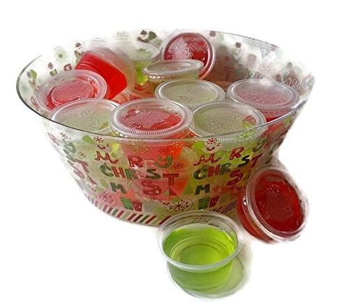 Margaritaville Christmas Jell-o Shot Kit Bundle - 6 Items - 50 Plastic Jello Shot Cups with Lids, 2 Strawberry Daiquiri , 2 Margarita Gelatin Jellos, 2.79oz, in Decorative Merry Christmas Bowl