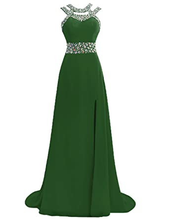 Prom Dress Halter Evening Gowns Formal Long Slit Chiffon Bridesmaid Dresses A line Open Back Dark