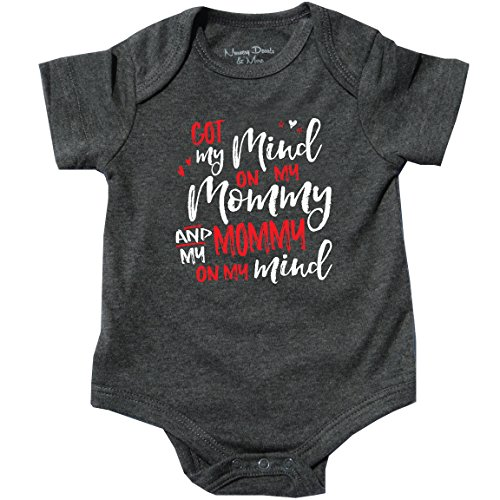 Feisty and Fabulous I Got My Mind on My Mommy Newborn, Cute Onesie, Gray, 0-3 months (1 Onesie)