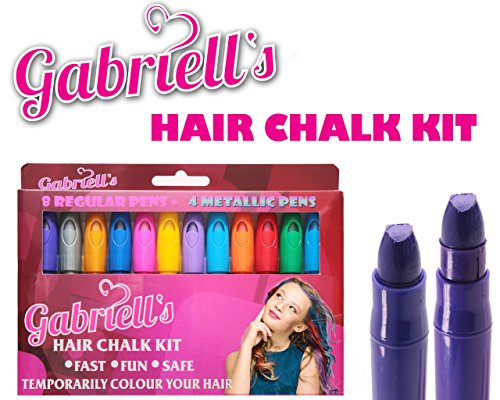 Hair Chalk - 12 Colorful Chalk Pens For Girls Of Ages 3 And Up. Temporary Hair color And Face Paint