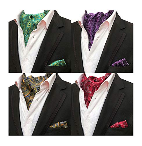 Mens 4 Pcs Wedding Floral Cravat Ascot Scarf Tie Neckties Pocket Square Set of 4 (Mens Floral Scarf)