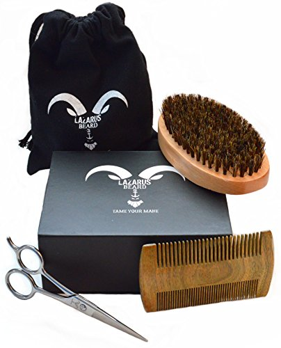 Beard Grooming Kit for Men - Lazarus Beard Co. - Beard Brush, Beard Comb, Mustache & Beard Trimming Scissors for Styling and Shaping Facial Hair - Beard Care Gift Set - Beard and Mustache Styling.