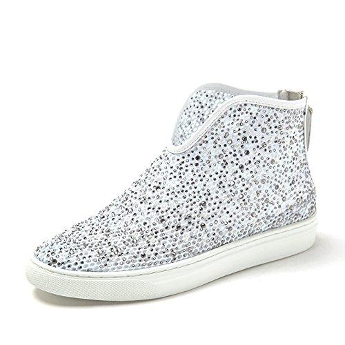 Primavera zapatos de malla de diamante/Aire redondo cabeza tacón bajo/Hola zapato blanco
