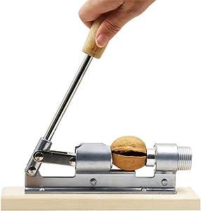 LQKYWNA Heavy Duty Pecan Nut Cracker Tool Stainless Steel Nutcracker Manual Mechanical Pecan Nut Walnut Desktop Wood Base Handle for Home