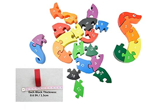 Snake Toys For Boys : Alphabet jigsaw puzzle cafurty wooden snake letters