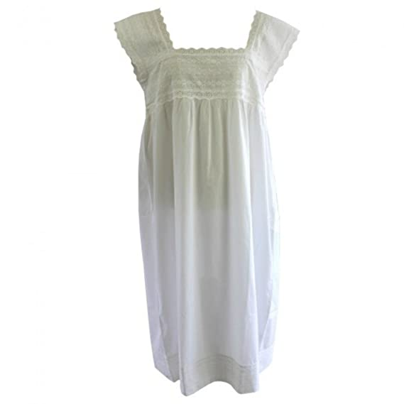 cedadfcc52 Powell Craft 100% Cotton Sleeveless Victorian Nightdress - Pearl ...