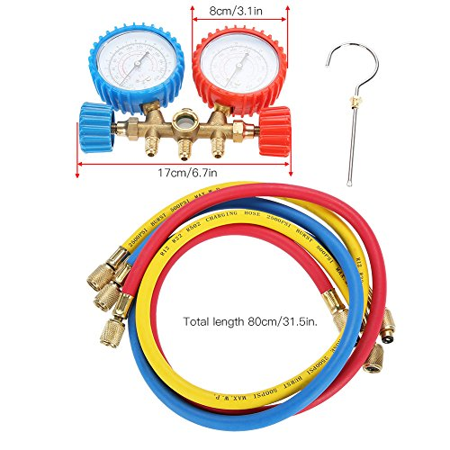 Acouto Refrigerant Air Conditioning Tools AC Diagnostic Manifold Gauge Set W/Hose and Hook Kit by Acouto (Image #3)