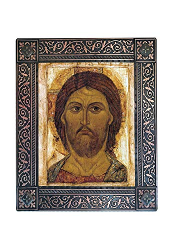 (Copy of Antique Icon - Spas Oplechni - Russian Orthodox Icon Mounted on Wood Plaque - Спас Оплечный, Embossed Copper Metal on Natural Wood Board with UV Printing )